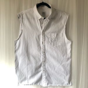 ZARA Man White Denim button up Vest/Shirt Size L